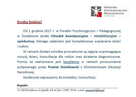 Ogłoszenie Poradni Psychologiczno-Pedagogicznej w Działdowie