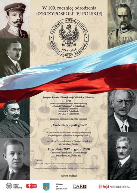 """Zaproszenie na inaugurację cyklu wydarzeń """"Akademia Niepodległości"""""""