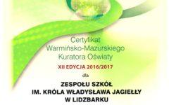 """Zespół Szkół w Lidzbarku """"szkołą przyjazną środowisku"""""""