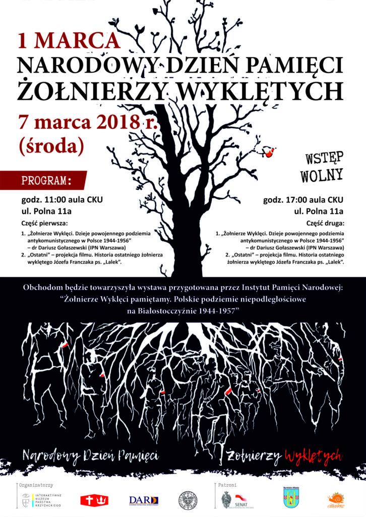 Zaproszenie na obchody Dnia Pamięci Żołnierzy Wyklętych