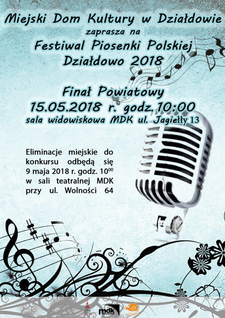 Zaproszenie na finał powiatowy Festiwalu Piosenki Polskiej
