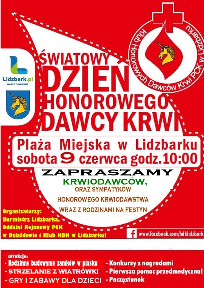 Zaproszenie na festyn z okazji Światowego Dnia HDK do Lidzbarka