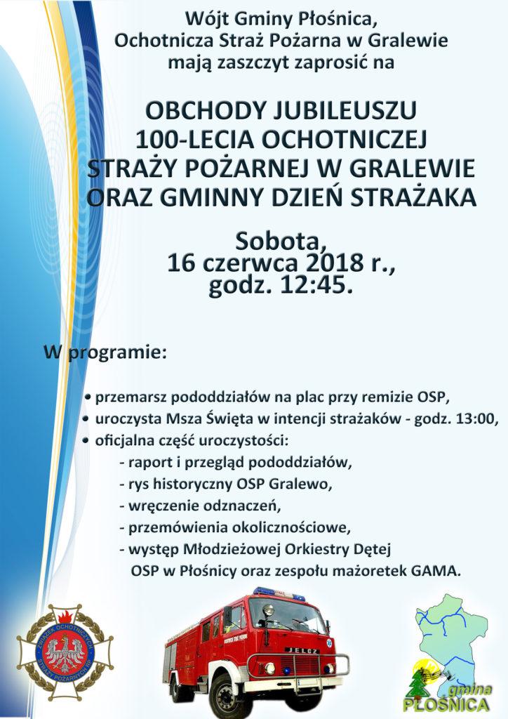 Zaproszenie na uroczyste obchody 100-lecia OSP w Gralewie