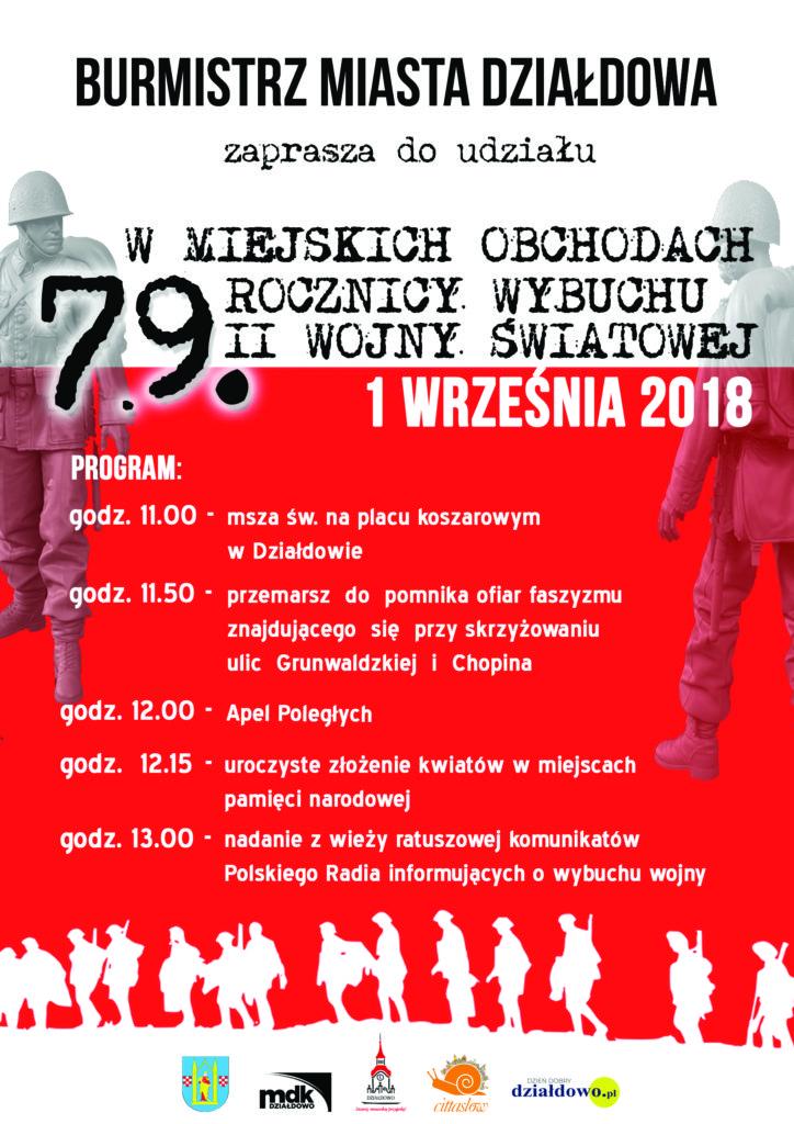 Zaproszenie na miejskie obchody 79. rocznicy wybuchu II wojny światowej
