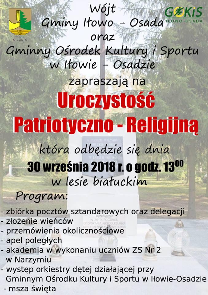 Zaproszenie na uroczystość patriotyczno-religijną do Białut
