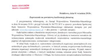 Zaproszenie na powiatową konferencję plenarną