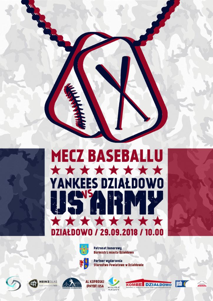 Zaproszenie na mecz baseballu: Yankees Działdowo-US Army!