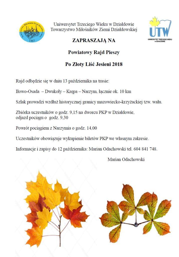 Zaproszenie na Powiatowy Rajd Pieszy Po Złoty Liść Jesieni