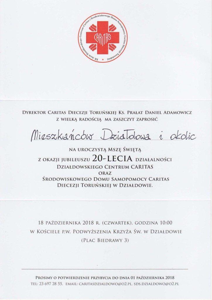 Działdowski Caritas ma już dwadzieścia lat! – Zaproszenie