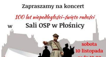Zaproszenie na obchody 100-lecia niepodległości do Płośnicy