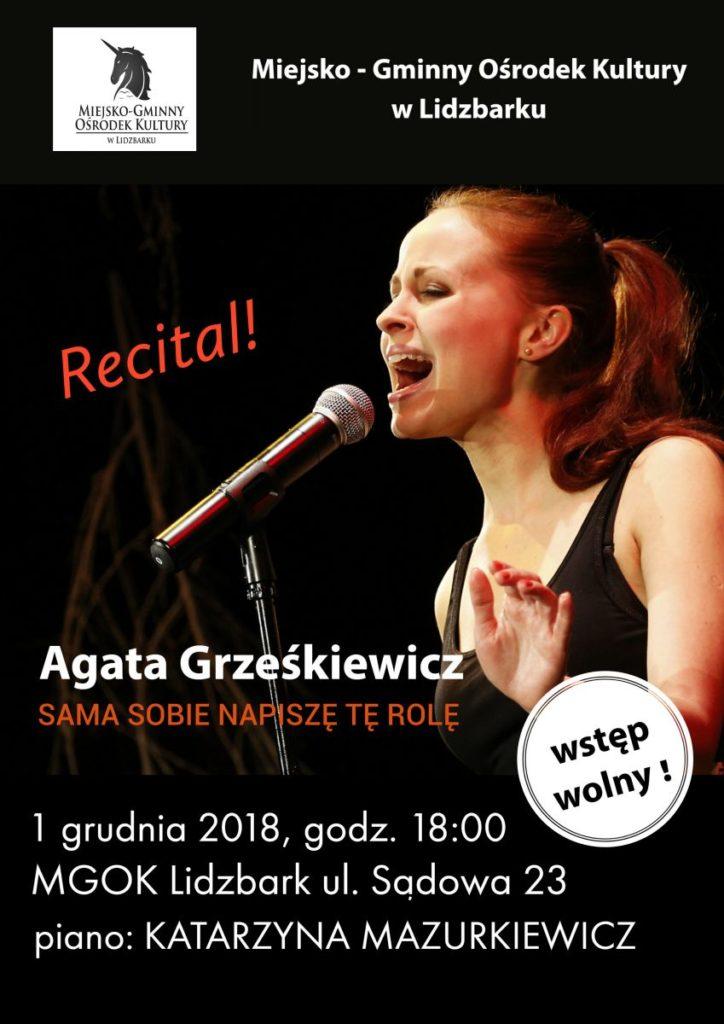 zaproszenie na recital Agaty Grześkiewicz