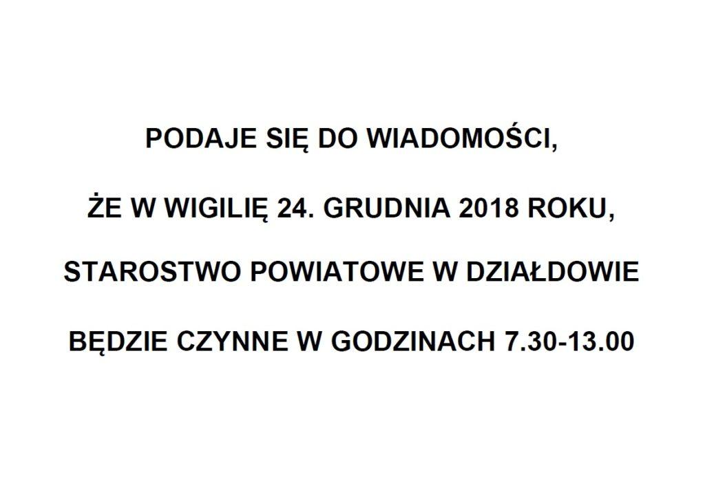 Ogłoszenie Starosty Działdowskiego z dn. 17 grudnia 2018 r.
