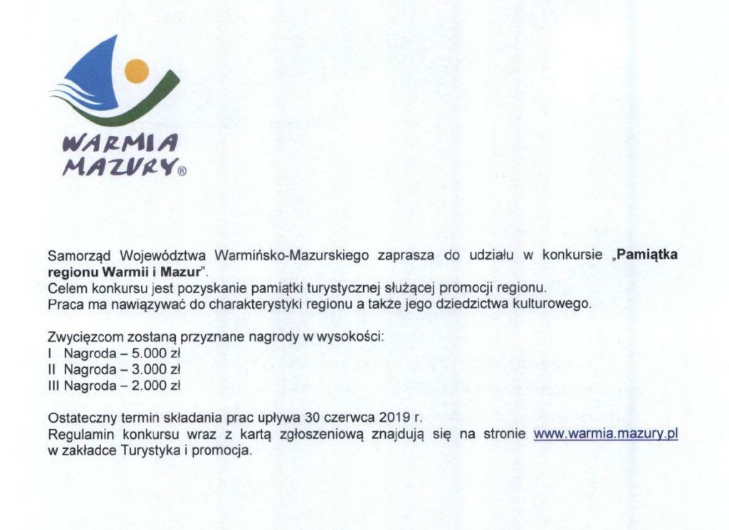"""""""Pamiątka regionu Warmii i Mazur"""" – kolejna edycja konkursu"""