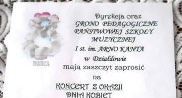 Zaproszenie na koncert z okazji Dnia Kobiet do działdowskiej Szkoły Muzycznej