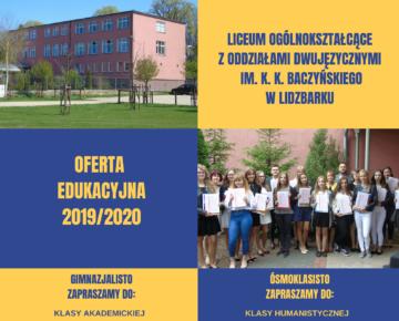 Rekrutacja 2019: Liceum Ogólnokształcące w Lidzbarku