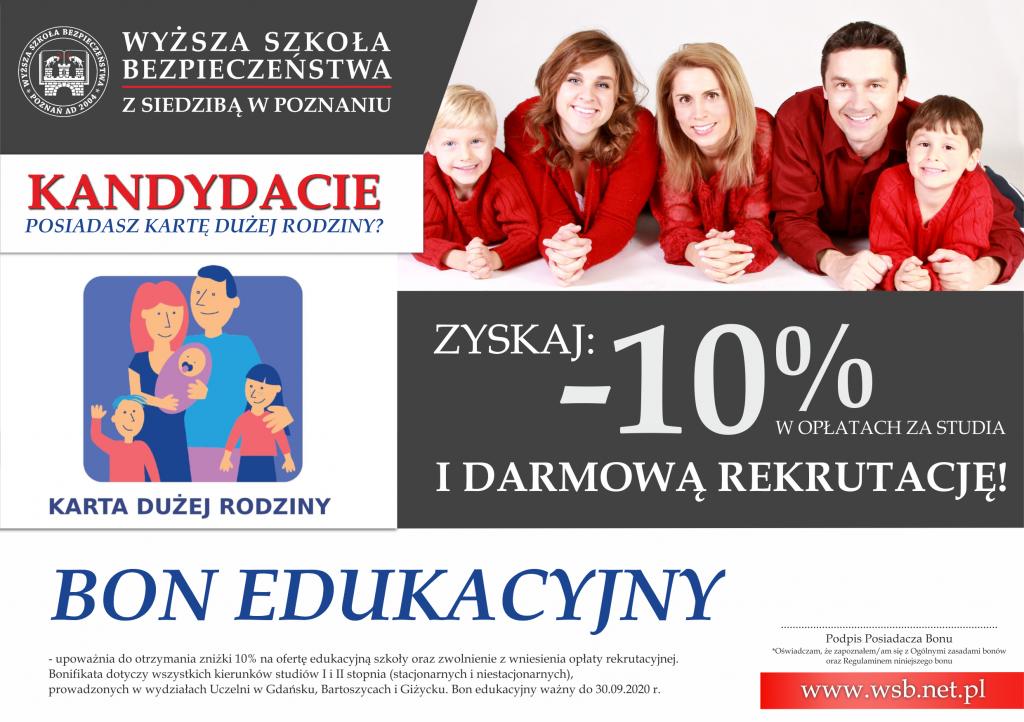 Bon Edukacyjny dla potencjalnych studentów WSB w Bartoszycach z siedzibą w Poznaniu!