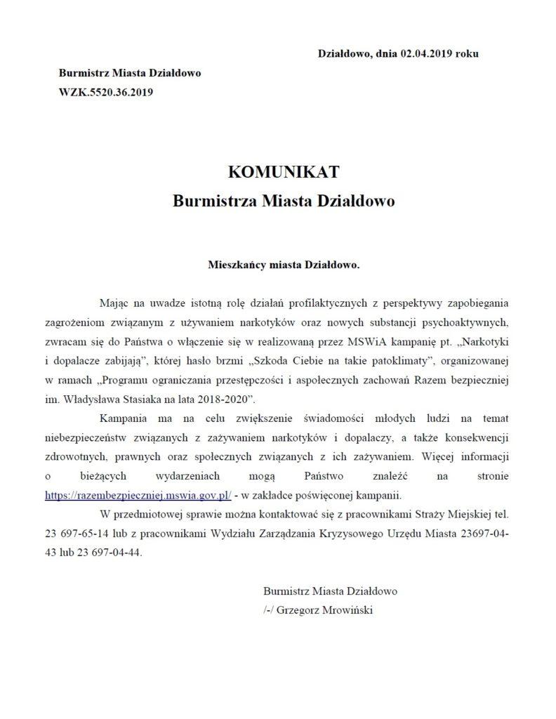 Komunikat Burmistrza Miasta Działdowo