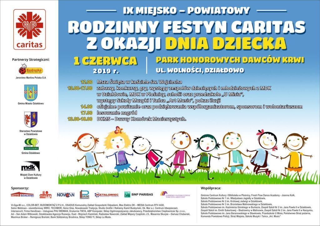 Zaproszenie na Rodzinny Festyn Caritas  z okazji Dnia Dziecka