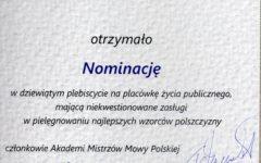 Stowarzyszenie Działdowska Kuźnia Słowa nominowane do tytułu Kuźni Mistrzów Mowy Polskiej