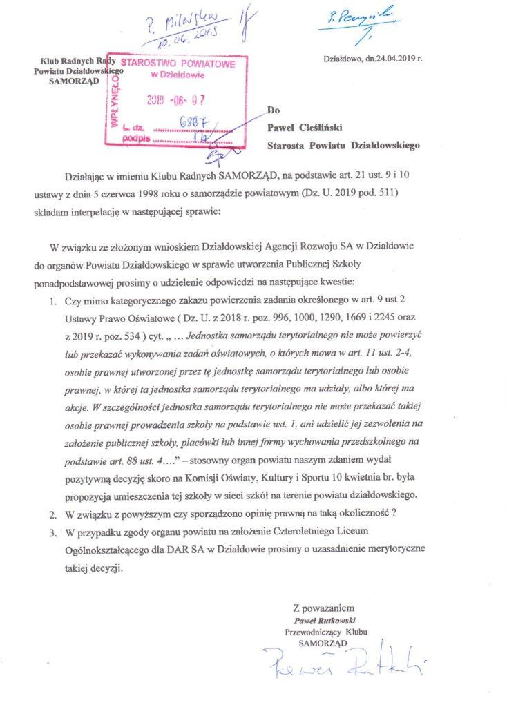 Interpelacja Klubu Radnych Rady Powiatu Działdowskiego SAMORZĄD