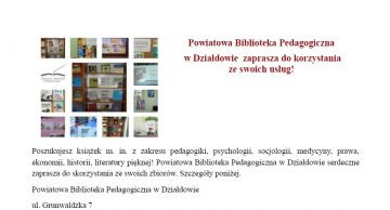 Powiatowa Biblioteka Pedagogiczna  w Działdowie  zaprasza do korzystania  ze swoich usług!