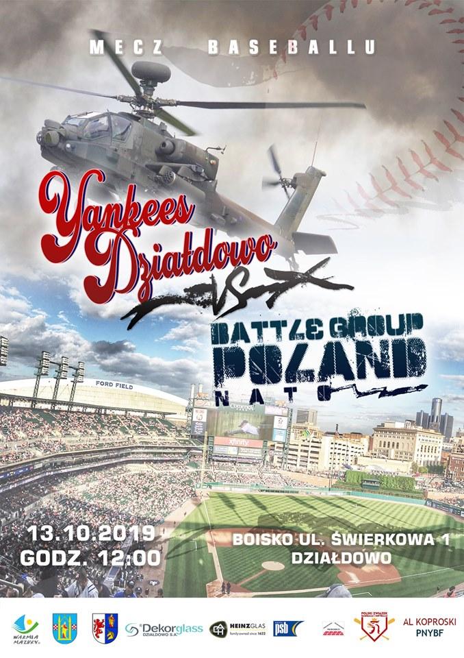 Zaproszenie na mecz Yankees Działdowo – drużyna Battle Group Poland NATO.