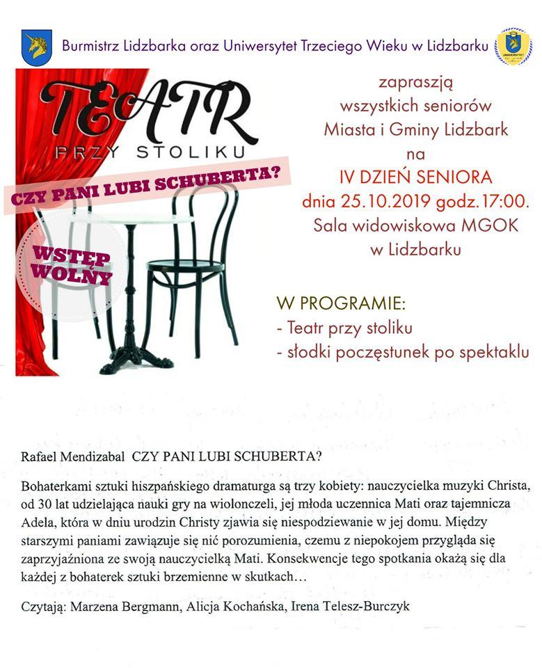 Zaproszenie na spektakl teatralny do Lidzbarka.