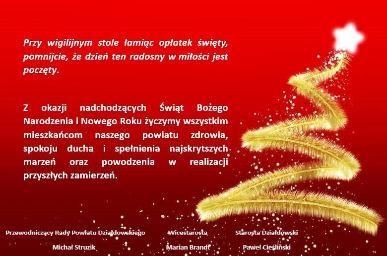 Życzenia świąteczne i noworoczne.