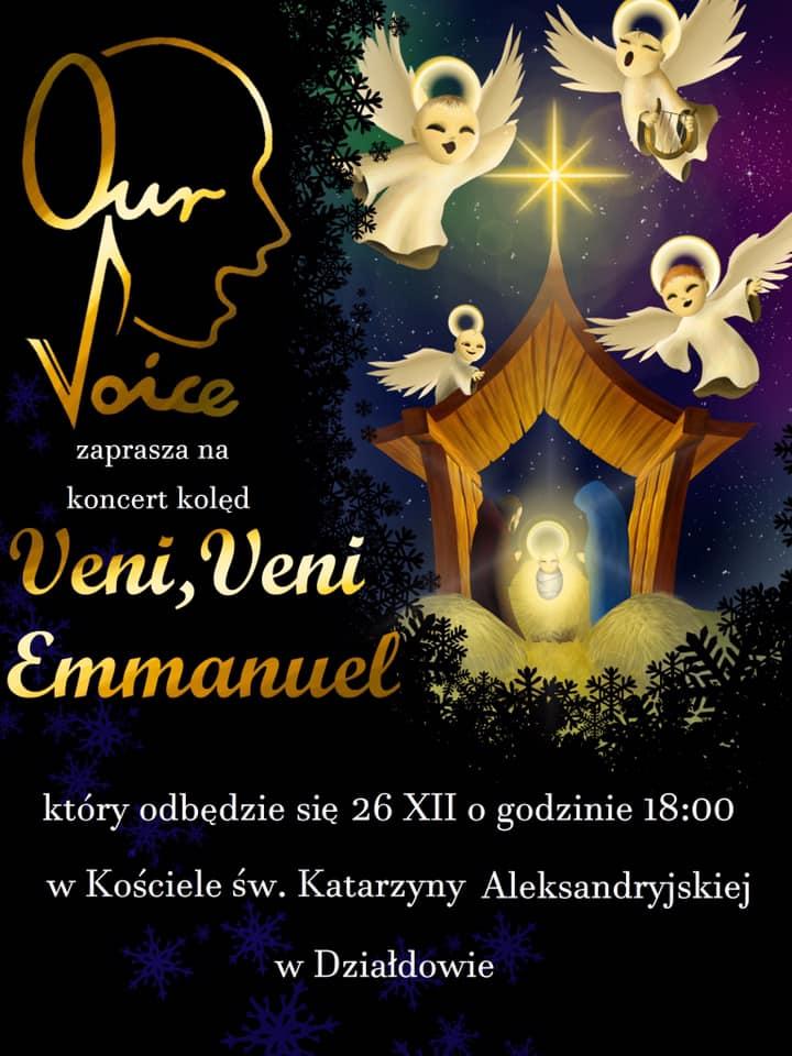 Zaproszenie na koncert kolęd chóru Our Voice