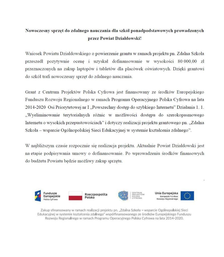 Nowoczesny sprzęt do zdalnego nauczania dla szkół ponadpodstawowych prowadzonych przez Powiat Działdowski!