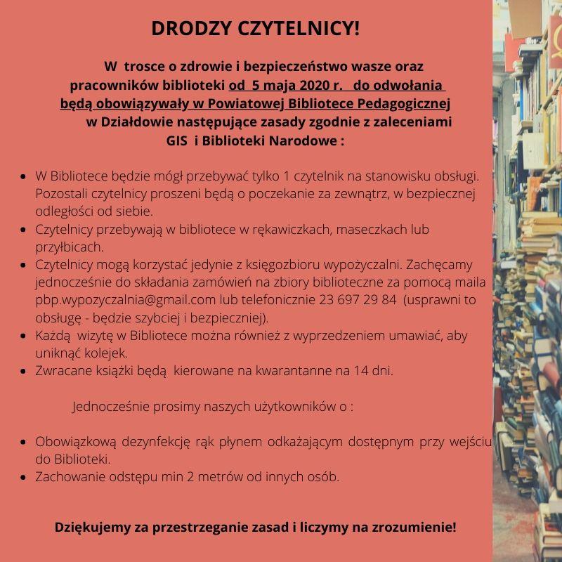 Zasady korzystania z zasobów Powiatowej Biblioteki Pedagogicznej w Działdowie