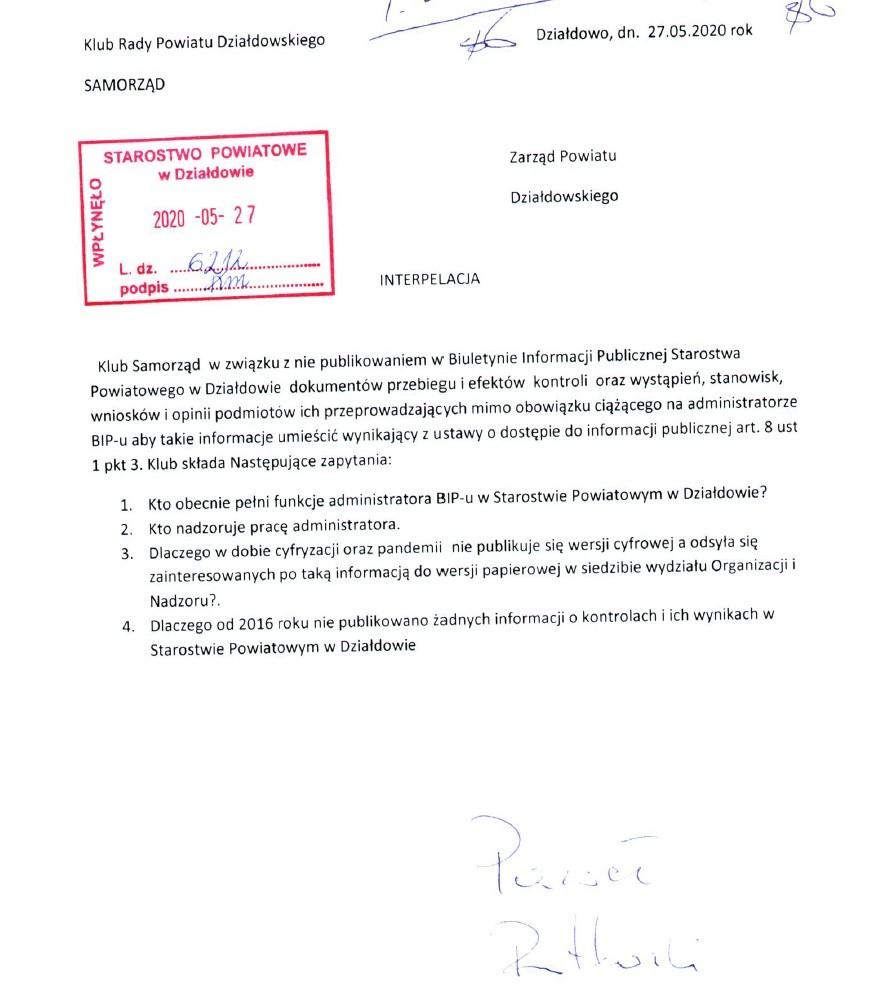 Interpelacja z dn. 27 maja 2020 r.