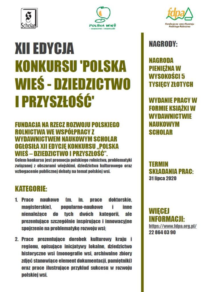 """Konkurs """"Polska wieś – dziedzictwo i przyszłość"""" – termin nadsyłania prac mija 31 lipca br.!"""