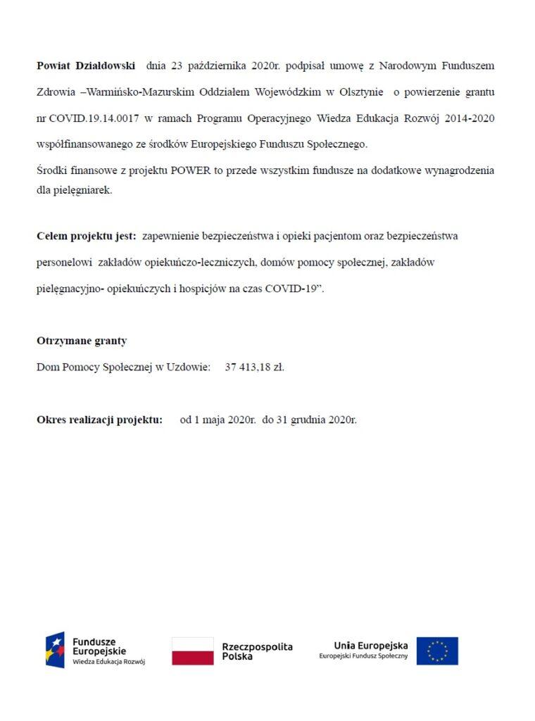 Informacja o aktualnie realizowanym grancie przez Dom Pomocy Społecznej w Uzdowie