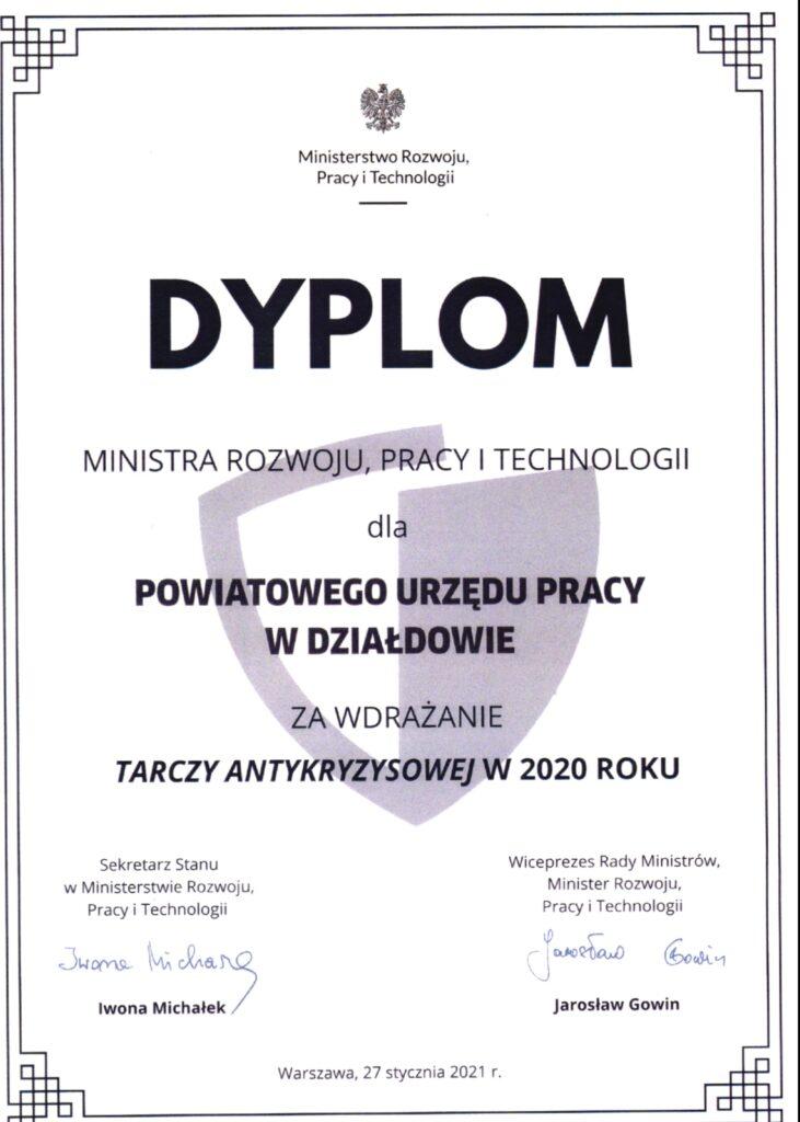 Ogólnopolskie wyróżnienie dla Powiatowego Urzędu Pracy w Działdowie