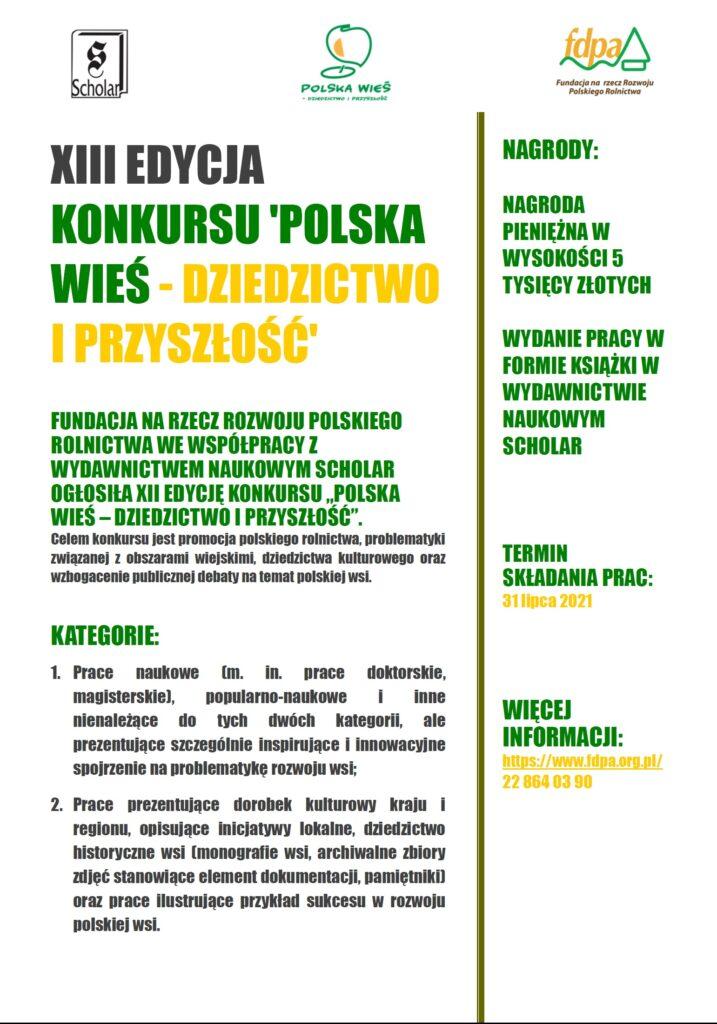 """""""Polska wieś – dziedzictwo i przyszłość"""" – XIII edycja konkursu. Termin  zgłoszenia mija 31 lipca br."""