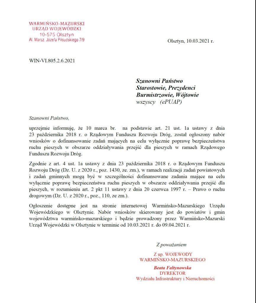 Ogłoszenie Wojewody Warmińsko-Mazurskiego