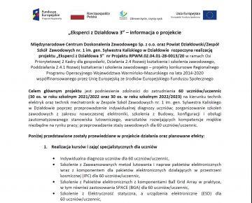 """""""Eksperci z Działdowa 3"""" - nowy projekt ZSZ Nr 1 w Działdowie"""