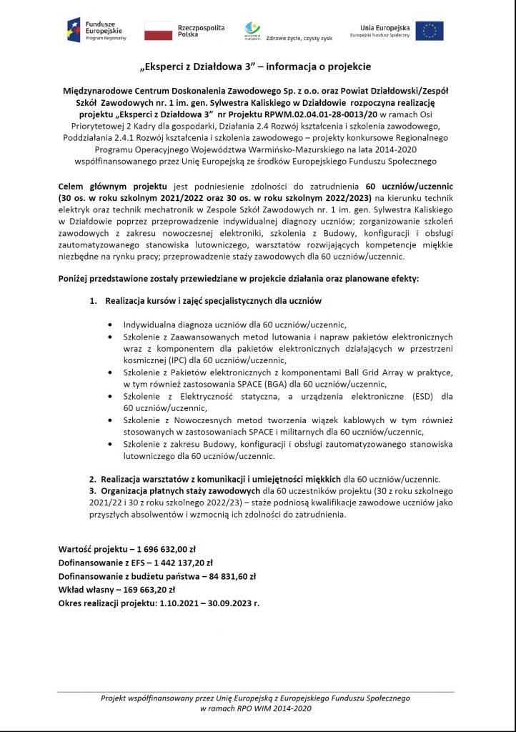 """""""Eksperci z Działdowa 3"""" – nowy projekt ZSZ Nr 1 w Działdowie"""
