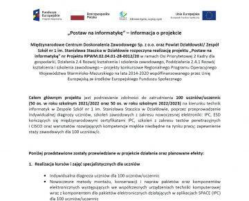 """""""Postaw na informatykę""""! Nowy projekt Zespołu Szkół Nr 1 w Działdowie"""