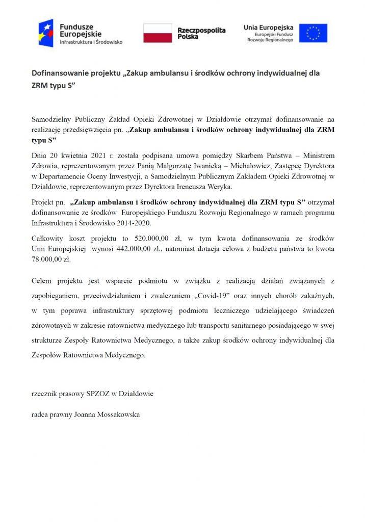 """Działdowski SP ZOZ otrzymał dofinansowanie projektu """"Zakup ambulansu i środków ochrony indywidualnej dla ZRM typu S""""!"""