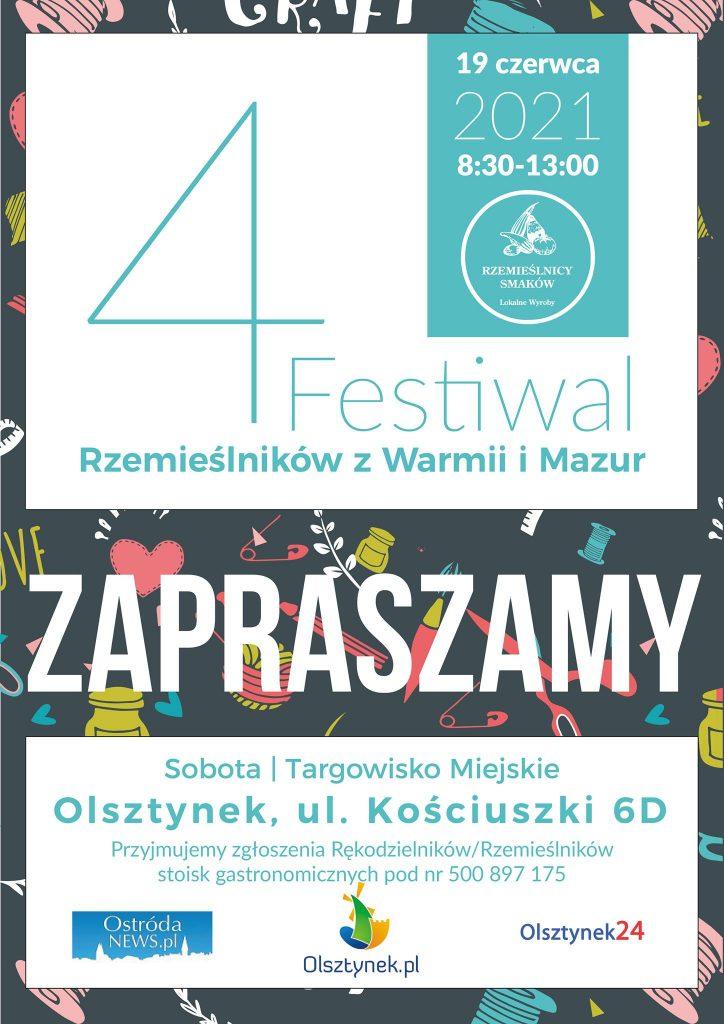 Zaproszenie na 4 Festiwal Rzemieślników z Warmii i Mazur do Olsztynka