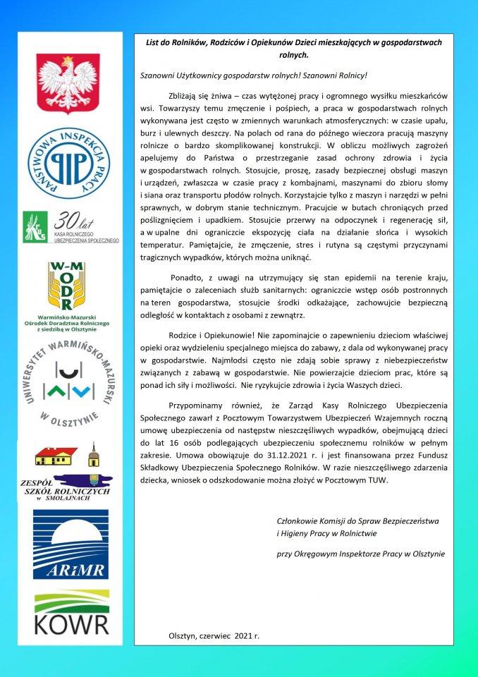 List do rolników w sprawie bezpieczeństwa dzieci w gospodarstwach rolnych