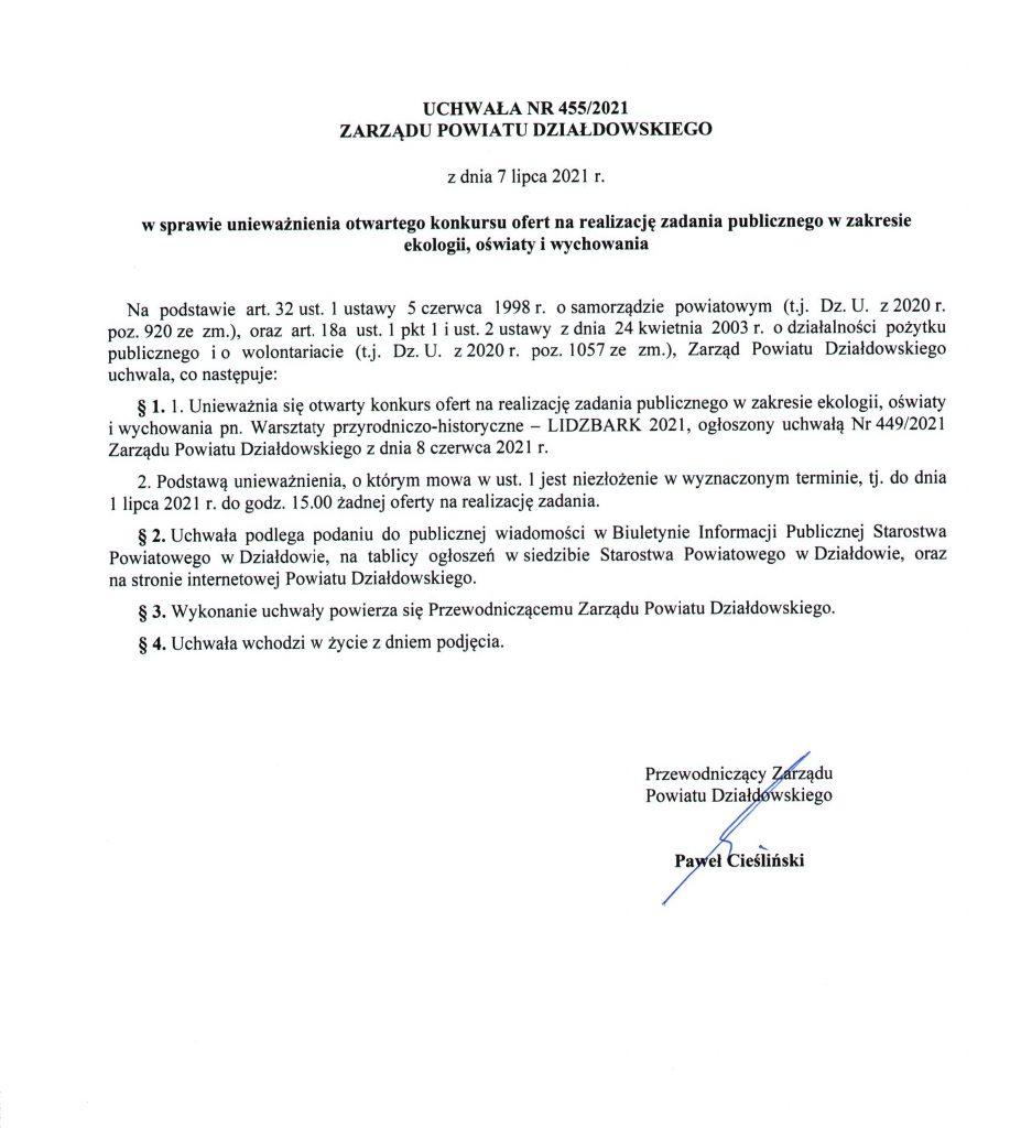 """Unieważnienie konkursu: """"Warsztaty przyrodniczo-historyczne – Lidzbark 2021"""""""