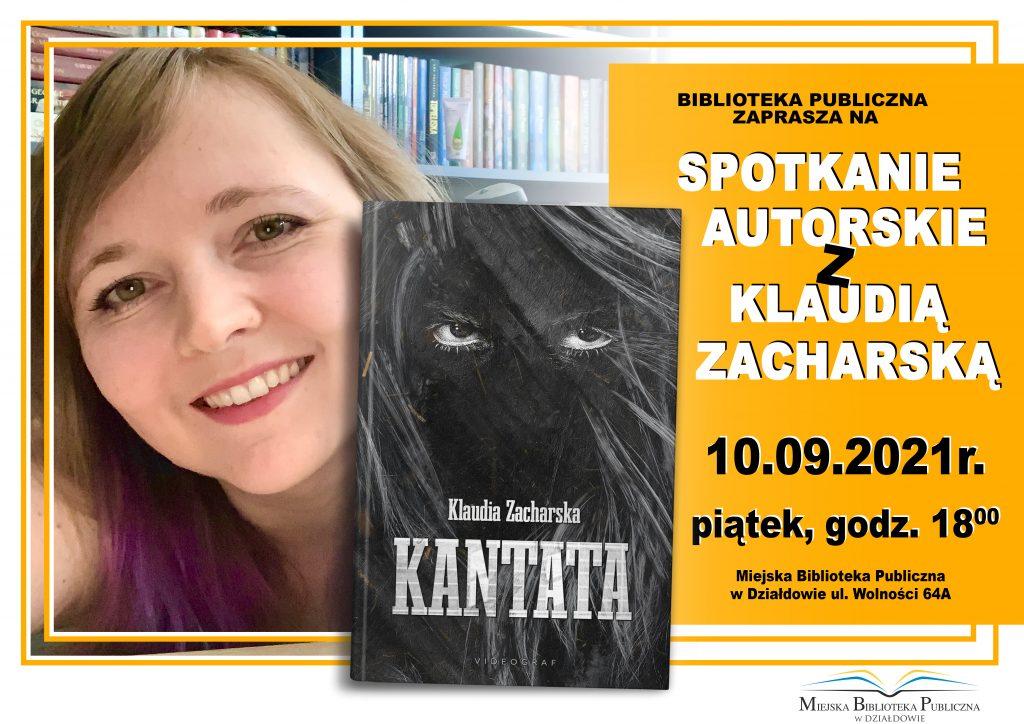 """Zaproszenie na promocję książki Klaudii Zacharskiej """"Kantata"""""""