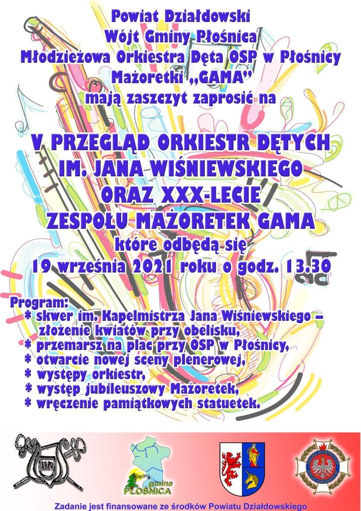 Zaproszenie na V Przegląd Orkiestr Dętych do Płośnicy